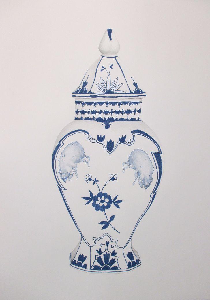Wilma Stegeman Delftsblauw met huisstofmijt
